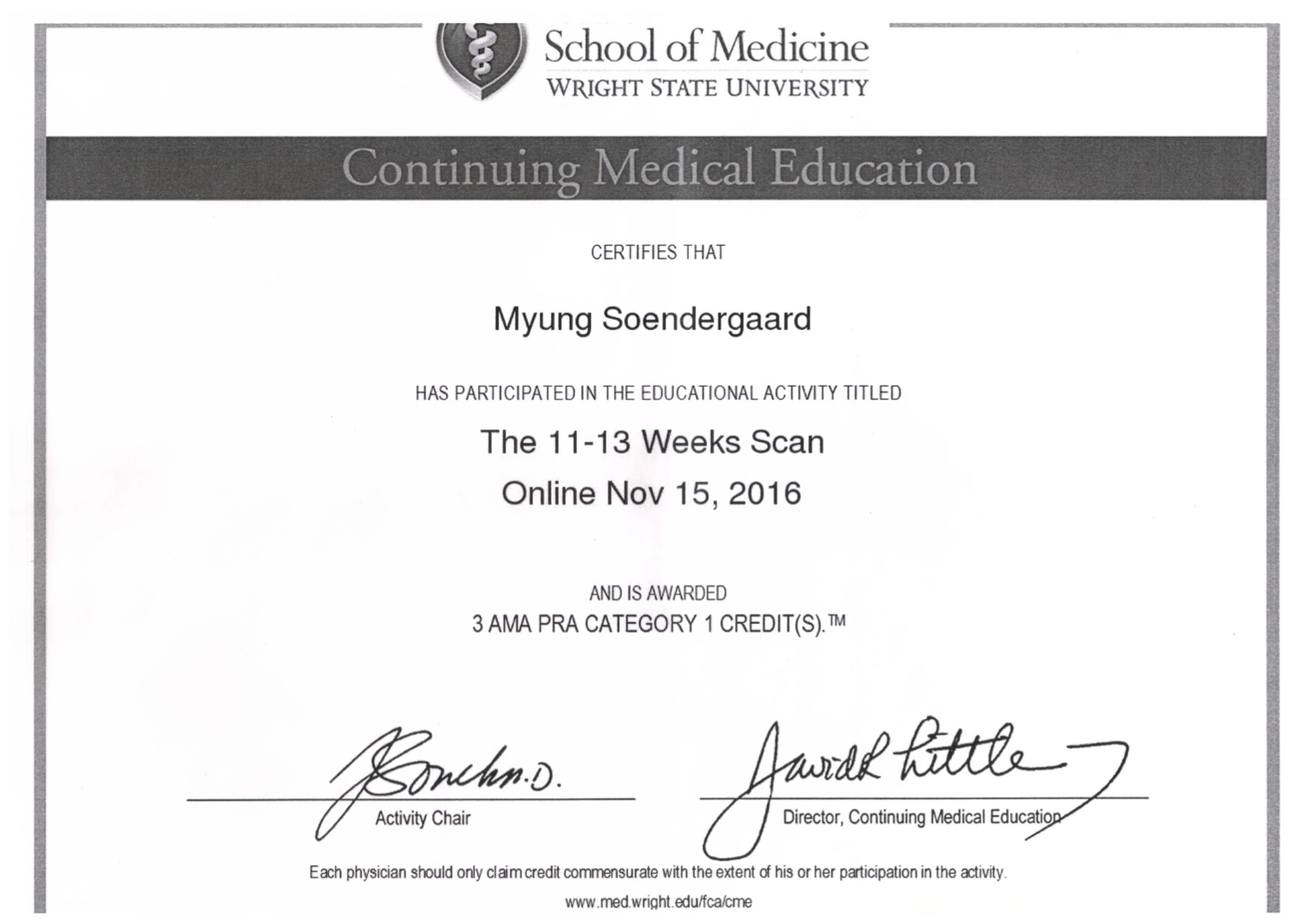 Myung's certificates The 11-13 weeks scan