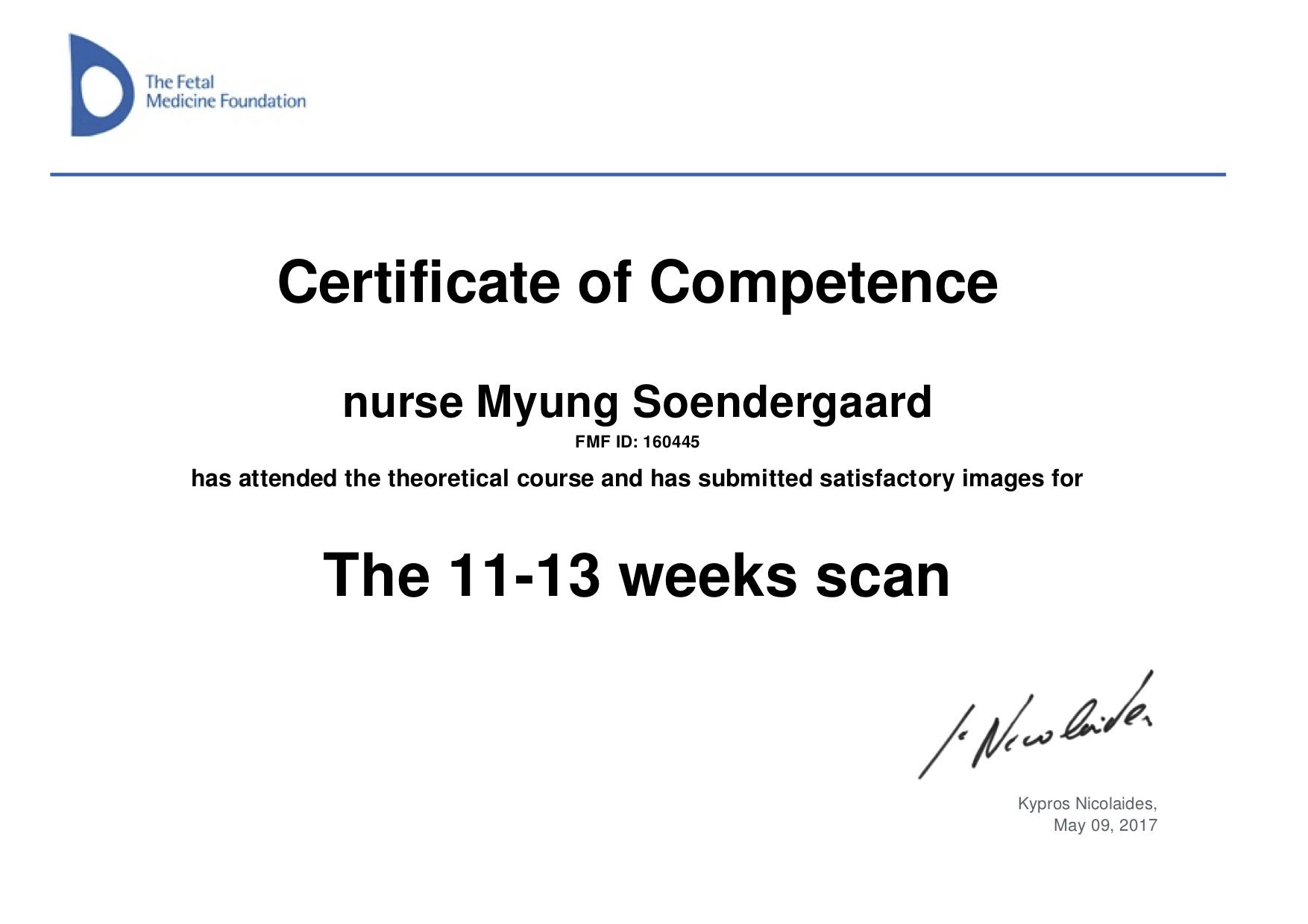 Myung's certificates
